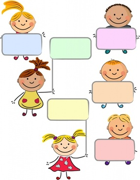 blank text box templates cute kids icons decor