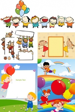 children cartoon illustration vector