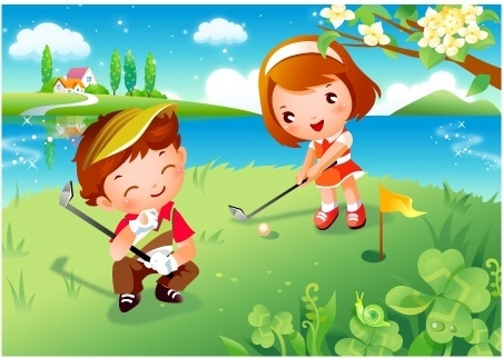 children clip art of golf