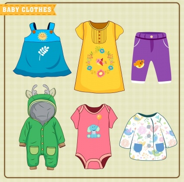children clothes advertising cute colorful design