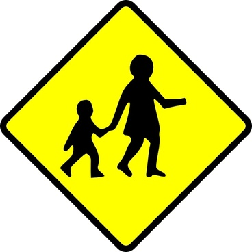 Children Crossing Caution clip art