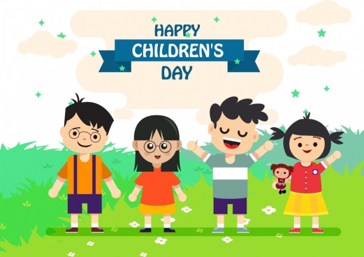 children day banner cute kids icons colored cartoon
