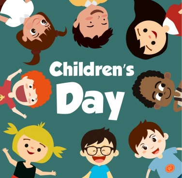 children day banner kids icons circle layout
