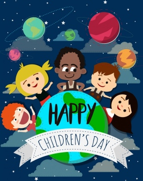 children day banner kids planets globe icons decoration