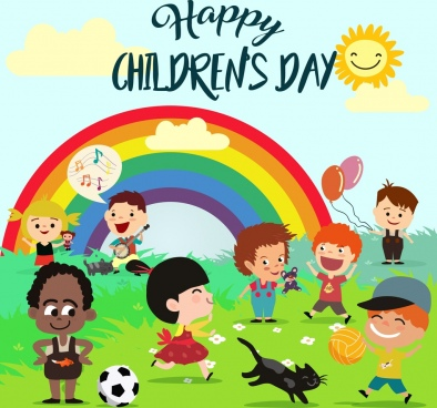 children day poster multicolored cartoon kids rainbow icons