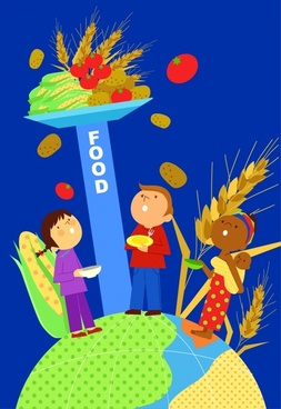 food preservation banner people cereal icons cartoon design