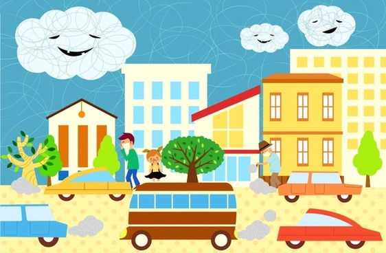 ecological environment background car pedestrian stylized cloud icons