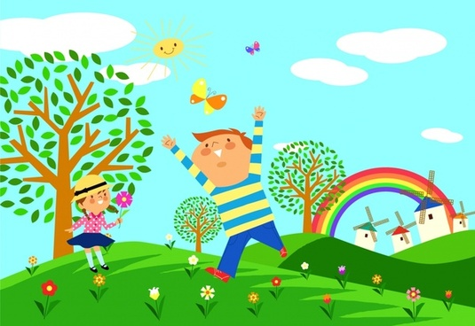 childhood painting joyful children cute colorful cartoon design