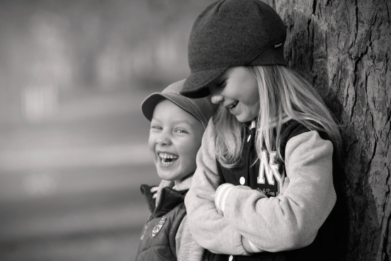 cute joyful children picture in black white effect