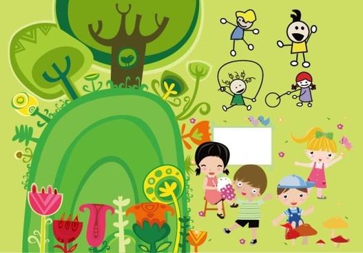 children illustrator vector cute
