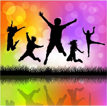 Children jumping silhouette vector free vector download (6,995 Free vector)  for commercial use. format: ai, eps, cdr, svg vector illustration graphic  art design
