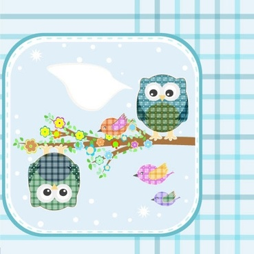 children painted owl bird illustrator vector