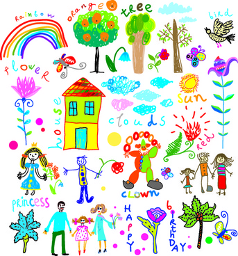 children paintings hand drawn vector