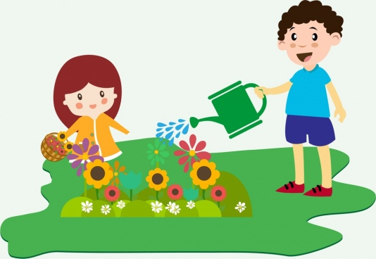 children planting flowers theme colorful design style