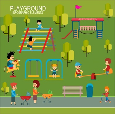children playground concept illustration with infographic elements