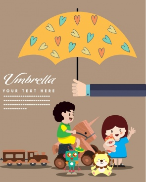 children protection banner kids toys umbrella icons decoration