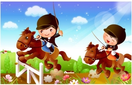 children riding motion vector