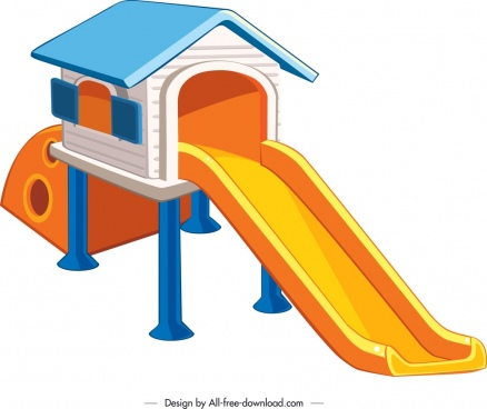 children slide template house decor colorful 3d design