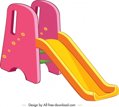children slide template pink yellow 3d decor