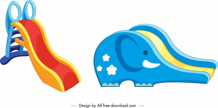 children slide templates colorful decor elephant shape