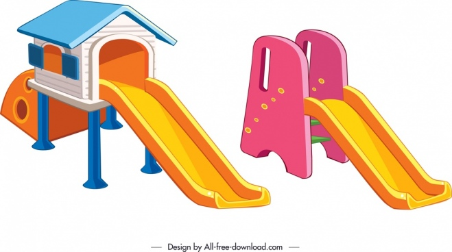 children slide templates colorful modern 3d sketch