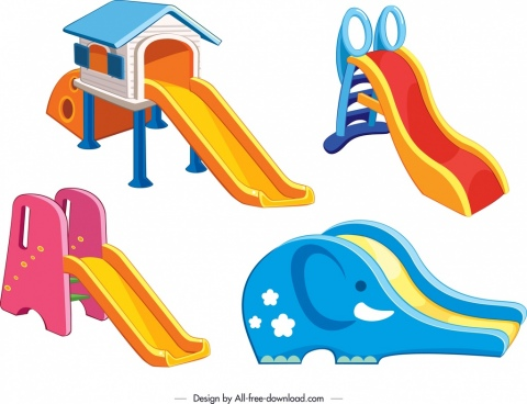 children slide templates modern colorful 3d design
