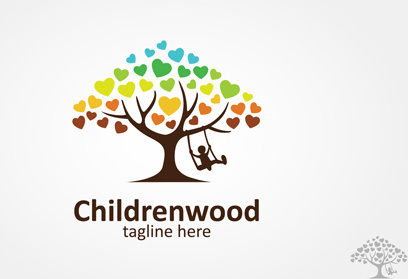 children swing with tree logo vector
