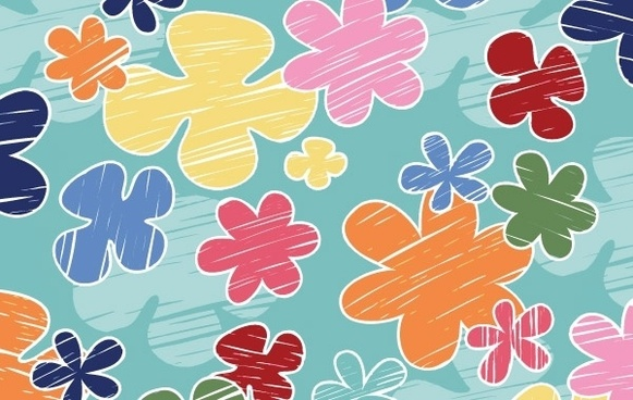 Children�s crayon flower vector pattern- Free