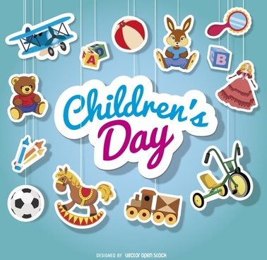 childrens day hanging ornament stickers cute vector