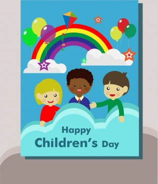 childrens day poster colorful rainbows balloons and kids