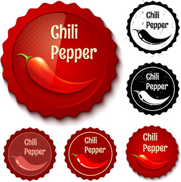 chili retro labels vector