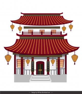 china architecture template elegant classical design