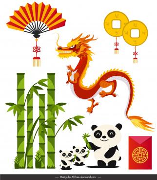 china design elements bright colored eastern symbols