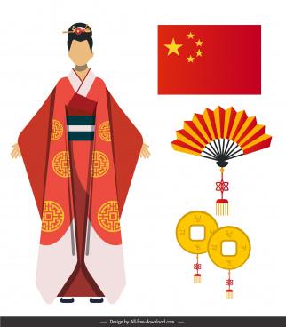 china design elements colored flat oriental symbols sketch