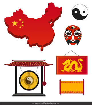 china design elements colored oriental symbols sketch