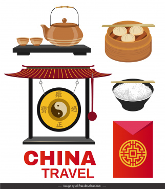 china design elements oriental cuisines objects sketch