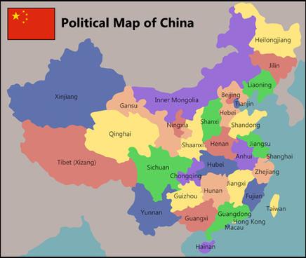 china political map vector