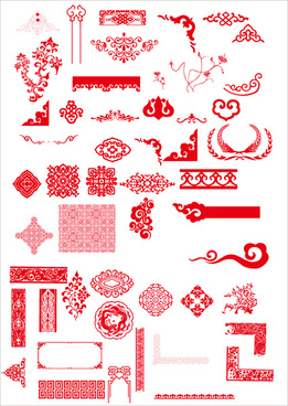 china style ornaments with frame vector