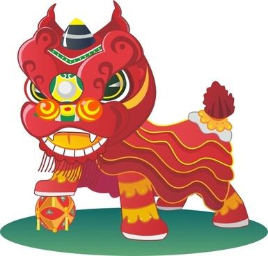 china styles lion cartoon vector