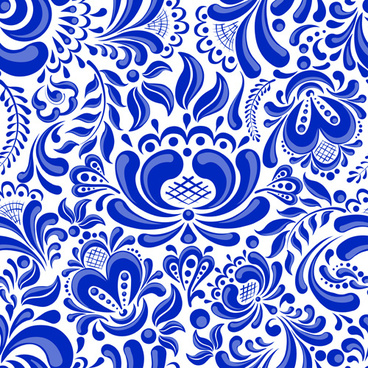 Chinese Blue And White Seamless Pattern Vector