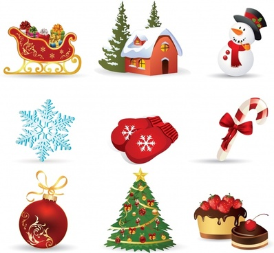 christmas design elements colorful modern symbols sketch