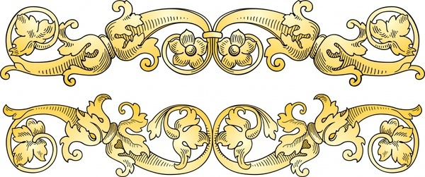 pattern design elements vintage floral seamless symmetric decor