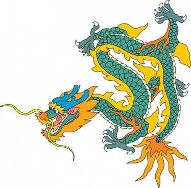 dragon icon traditional oriental model colored handdrawn