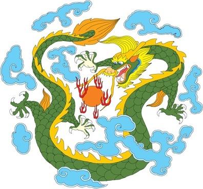dragon painting classical oriental design