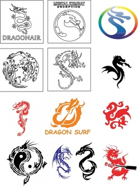 dragon icons collection oriental western symbols sketch