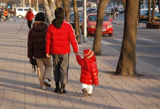chinese family takes a walk