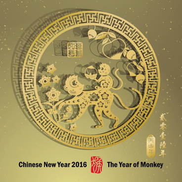 chinese new year16 monkey design vector