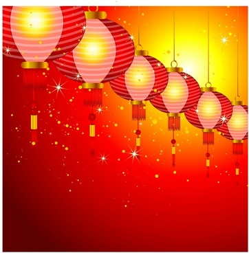 Chinese New Year background design with lanterns.