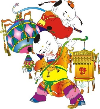 chinese new year greeting doll vector