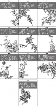 chinese painting pattern vector 31 to 40